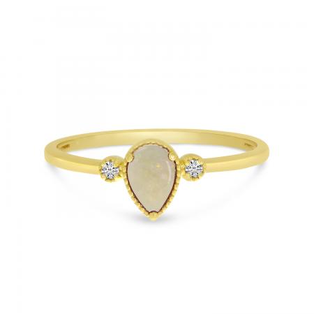 14K Yellow Gold Pear Opal Birthstone Ring