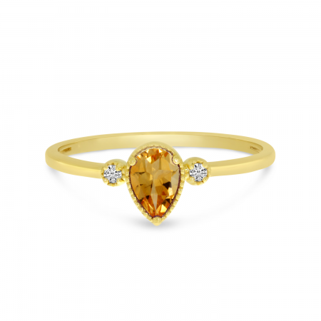 14K Yellow Gold Pear Citrine Birthstone Ring