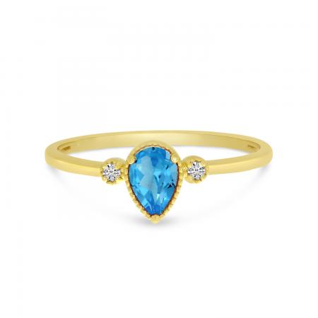 14K Yellow Gold Pear Blue Topaz Birthstone Ring