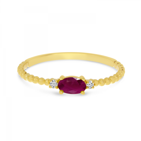 10K Yellow Gold East To West Oval Ruby Birthstone Ring