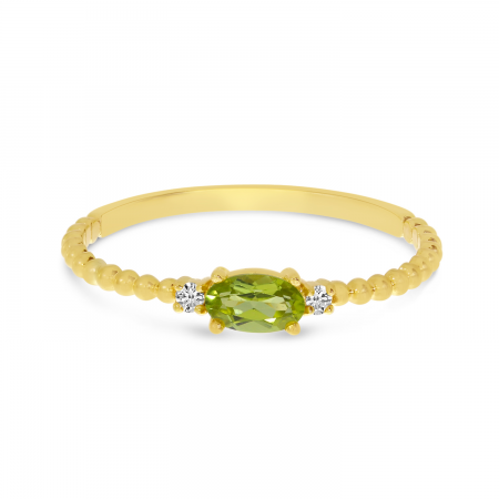 14K Yellow Gold East To West Oval Peridot Birthstone Ring