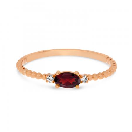 10K Rose Gold East To West Oval Garnet Birthstone Ring