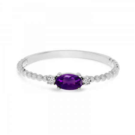 10K White Gold East To West Oval Amethyst Birthstone Ring
