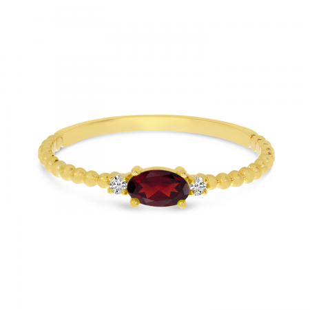 14K Yellow Gold East To West Oval Garnet Birthstone Ring