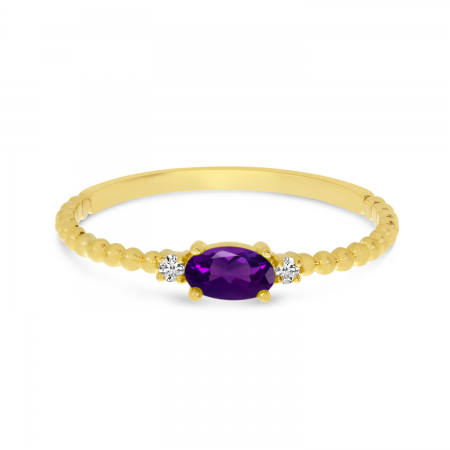 14K Yellow Gold East To West Oval Amethyst Birthstone Ring