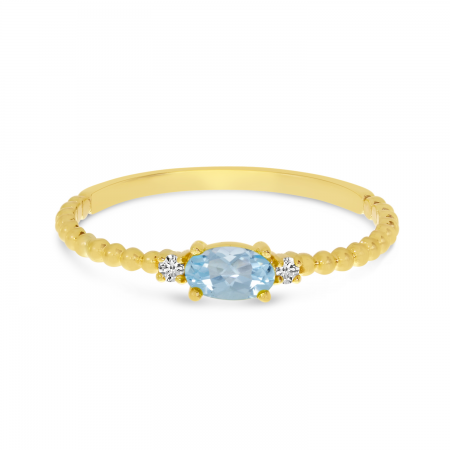 14K Yellow Gold East To West Oval Aquamarine Birthstone Ring