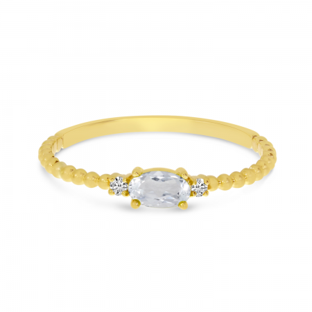 14K Yellow Gold East To West Oval White Topaz Birthstone Ring