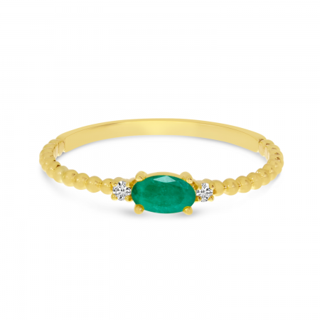 14K Yellow Gold East To West Oval Emerald Birthstone Ring