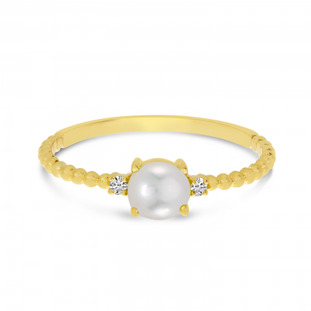 14K Yellow Gold East To West Oval Pearl Birthstone Ring