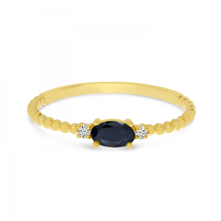 14K Yellow Gold East To West Oval Sapphire Birthstone Ring