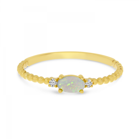 14K Yellow Gold East To West Oval Opal Birthstone Ring