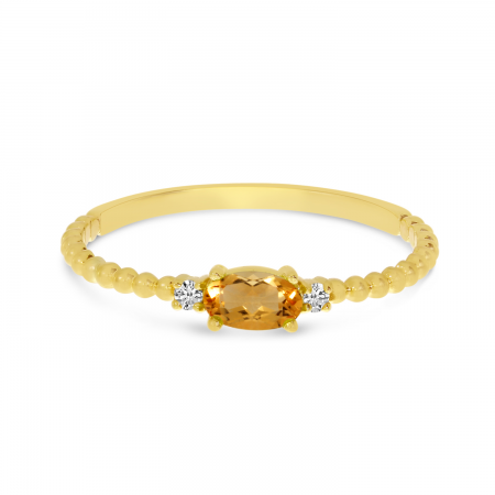 14K Yellow Gold East To West Oval Citrine Birthstone Ring