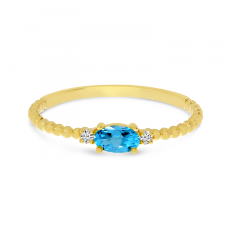 14K Yellow Gold East To West Oval Blue Topaz Birthstone Ring
