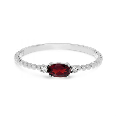 14K White Gold East To West Oval Garnet Birthstone Ring