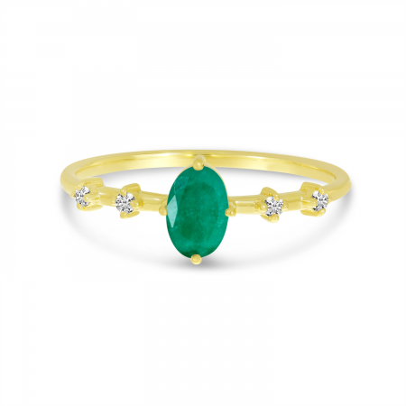 10K Yellow Gold Oval Emerald Birthstone Ring