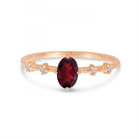 10K Rose Gold Oval Garnet Birthstone Ring