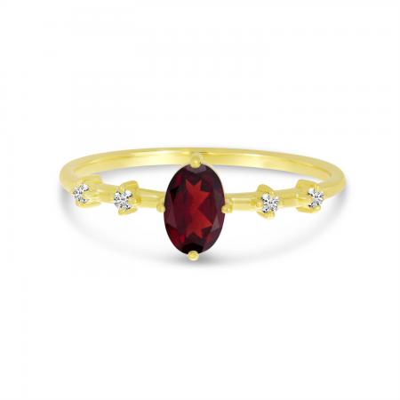14K Yellow Gold Oval Garnet Birthstone Ring