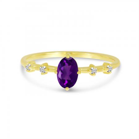 14K Yellow Gold Oval Amethyst Birthstone Ring