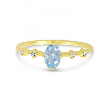 14K Yellow Gold Oval Aquamarine Birthstone Ring