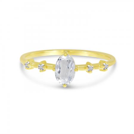 14K Yellow Gold Oval White Topaz Birthstone Ring