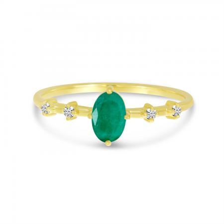 14K Yellow Gold Oval Emerald Birthstone Ring