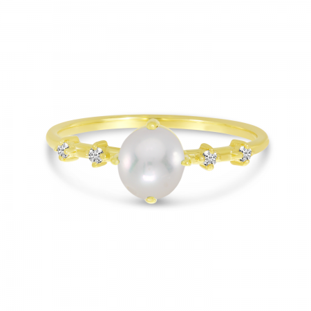 14K Yellow Gold Oval Pearl Birthstone Ring