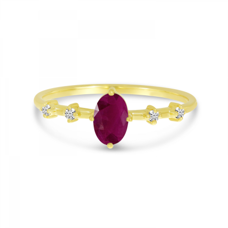 14K Yellow Gold Oval Ruby Birthstone Ring