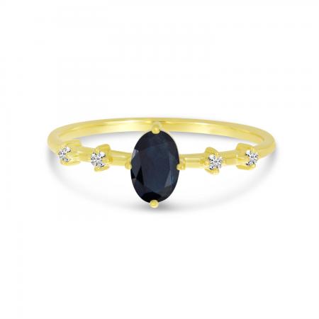 14K Yellow Gold Oval Sapphire Birthstone Ring