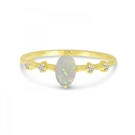 14K Yellow Gold Oval Opal Birthstone Ring