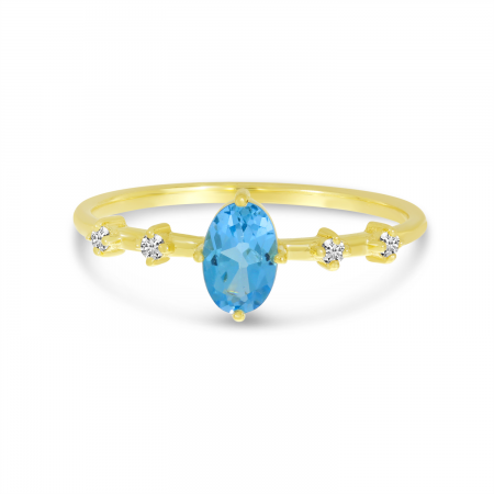 14K Yellow Gold Oval Blue Topaz Birthstone Ring