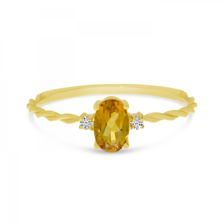 10K Yellow Gold Oval Citrine Birthstone Twisted Ring