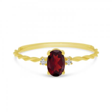 14K Yellow Gold Oval Garnet Birthstone Twisted Ring