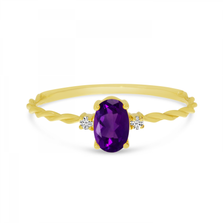 14K Yellow Gold Oval Amethyst Birthstone Twisted Band Ring