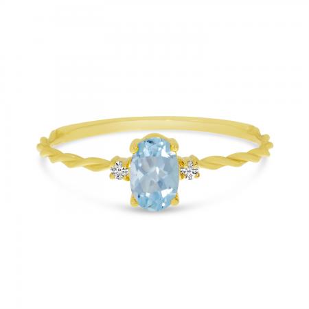 14K Yellow Gold Oval Aquamarine Birthstone Twisted Band Ring
