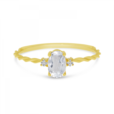 14K Yellow Gold Oval White Topaz Birthstone Twisted Band Ring