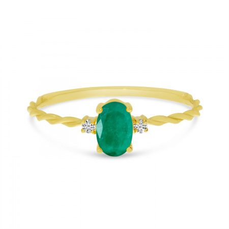 14K Yellow Gold Oval Emerald Birthstone Twisted Band Ring