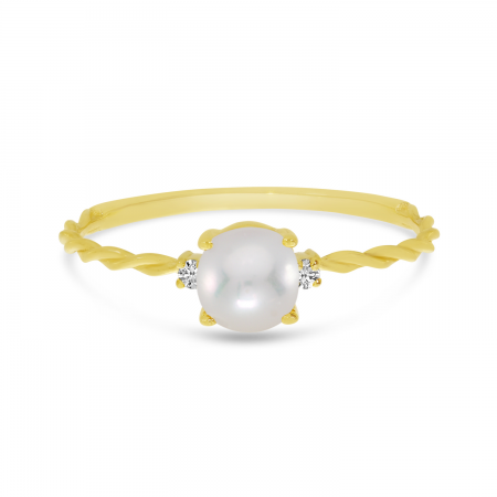 14K Yellow Gold Oval Pearl Birthstone Twisted Band Ring