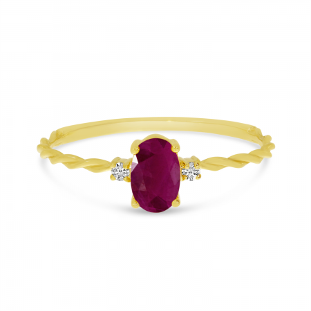 14K Yellow Gold Oval Ruby Birthstone Twisted Band Ring