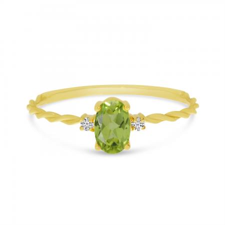14K Yellow Gold Oval Peridot Birthstone Twisted Band Ring