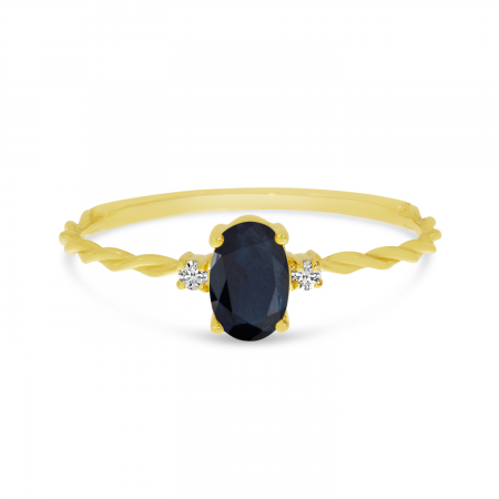 14K Yellow Gold Oval Sapphire Birthstone Twisted Band Ring