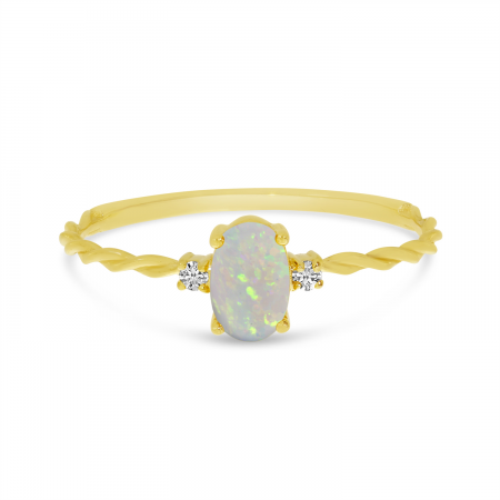 14K Yellow Gold Oval Opal Birthstone Twisted Band Ring