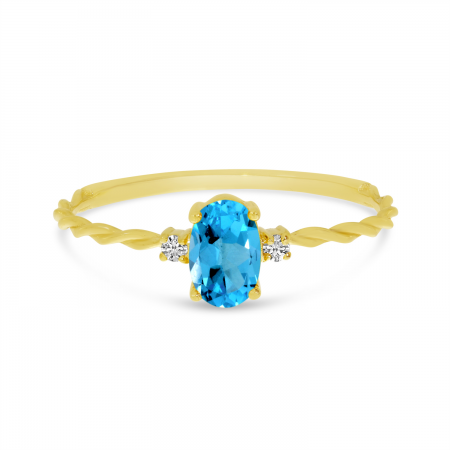 14K Yellow Gold Oval Blue Topaz Birthstone Twisted Band Ring