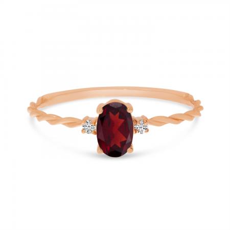14K Rose Gold Oval Garnet Birthstone Twisted Band Ring