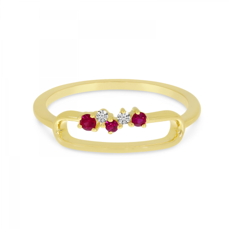 14K Yellow Gold Ruby Precious Paperclip Ring