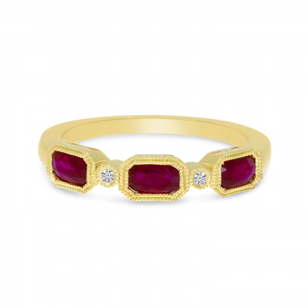 14K Yellow Gold Triple Ruby Oval Ring