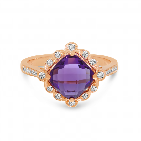 14K Rose Gold Cushion Amethyst Flower Ring