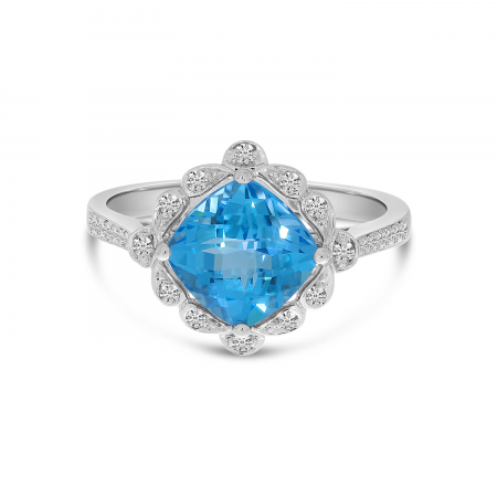 14K White Gold Cushion Blue Topaz Flower Ring