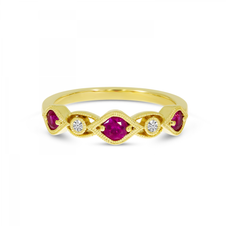 14K Yellow Gold Ruby Precious Millgrain Ring