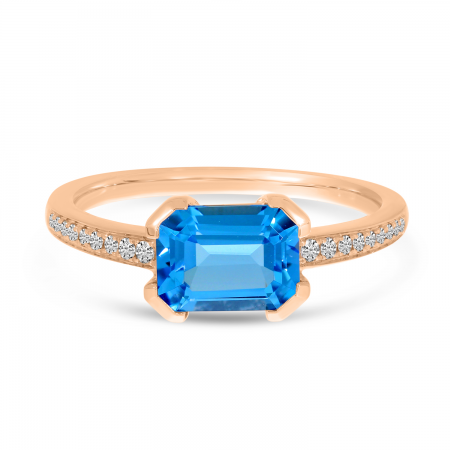 14K Rose Gold Blue Topaz Semi Emerald-Cut Pave Ring