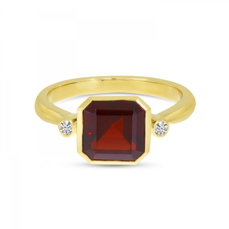 14K Yellow Gold Garnet Semi Square Gold Halo Ring